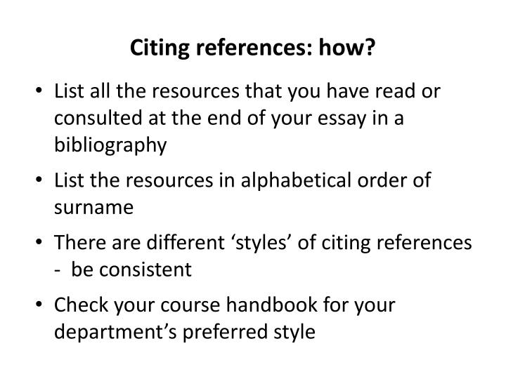 Citing references: how?