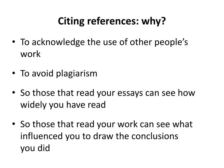 Citing references: why?