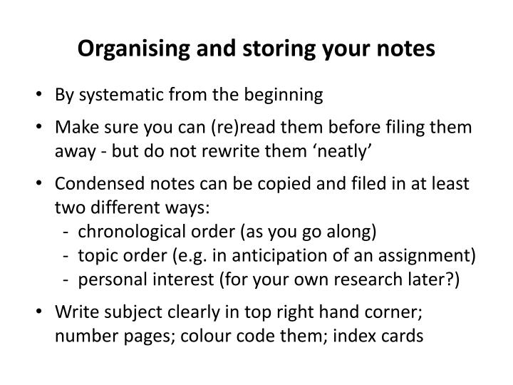 Organising and storing your notes