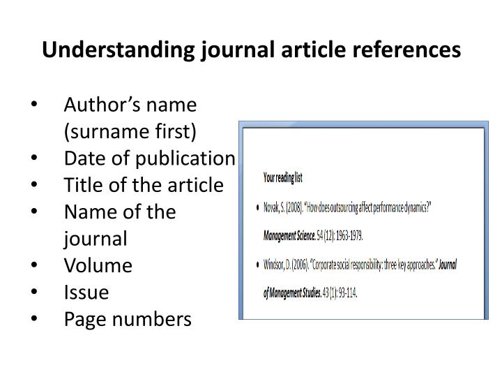 Understanding journal article references