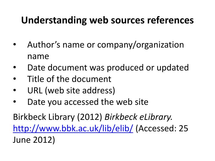 Understanding web sources references