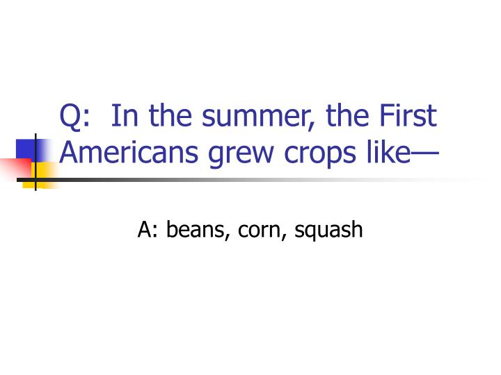 Q:  In the summer, the First Americans grew crops like—