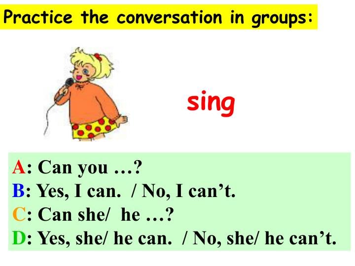 Practice the conversation in groups:
