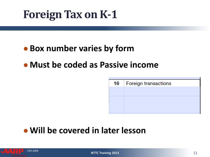 Foreign Tax on K-1
