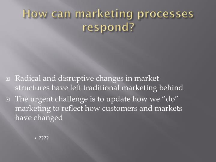 Radical and disruptive changes in market structures have left traditional marketing behind