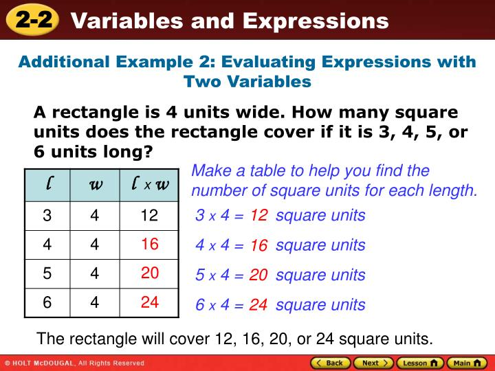 Additional Example 2: Evaluating Expressions with Two Variables