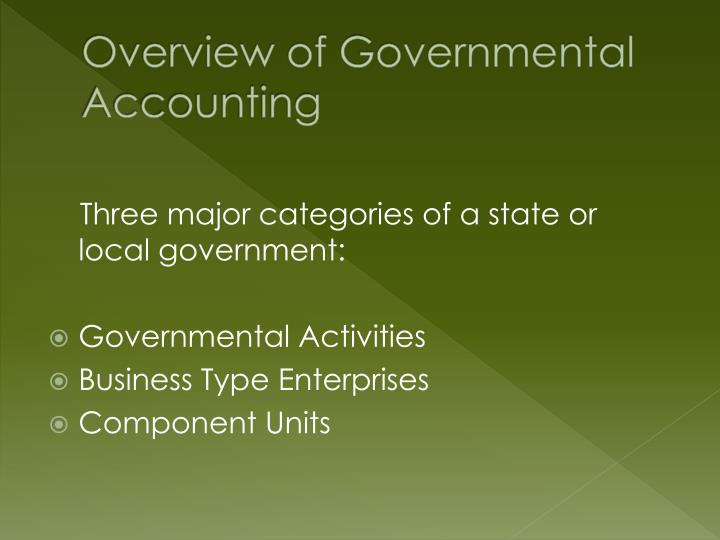 governmental accounting Demystifying a growing and dynamic field, handbook of governmental  accounting reflects the increasing complexity of this area, enabling readers to  grasp the.