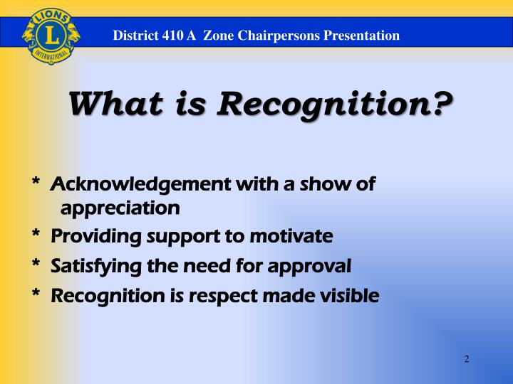 District 410 A  Zone Chairpersons Presentation