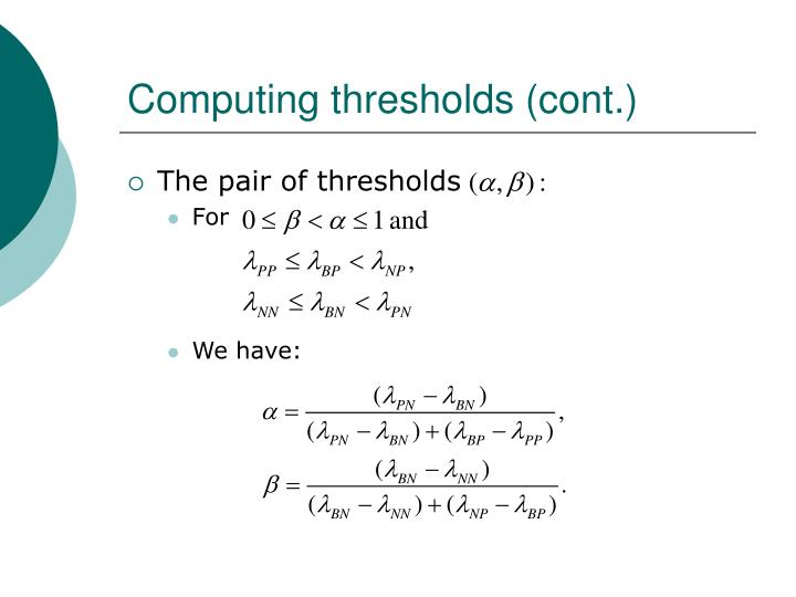 Computing thresholds (cont.)