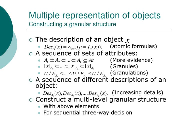 Multiple representation of objects
