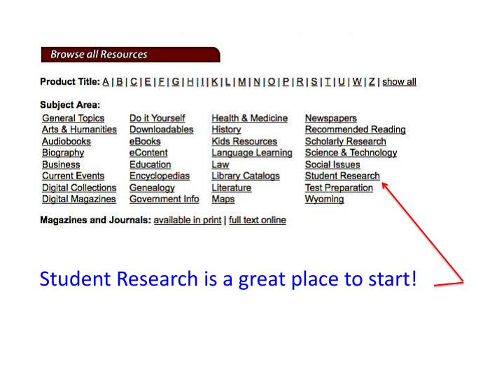 Student Research is a great place to start!