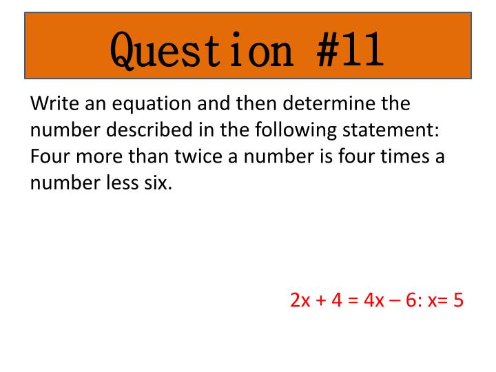 Question #11