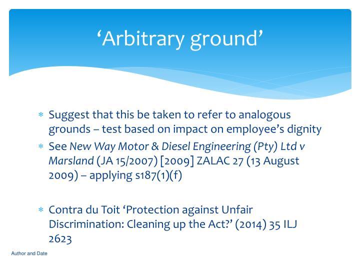 'Arbitrary ground'