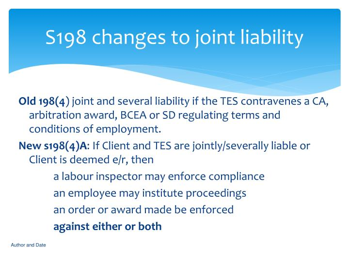 S198 changes to joint liability