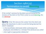 section 198a 4 termination to avoid deeming