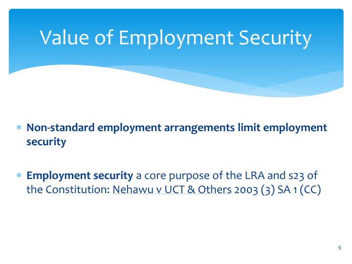 Value of Employment Security