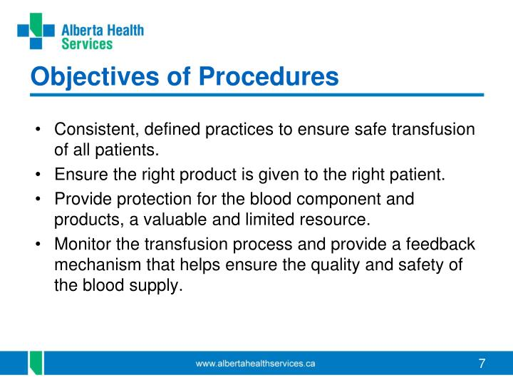 Objectives of Procedures