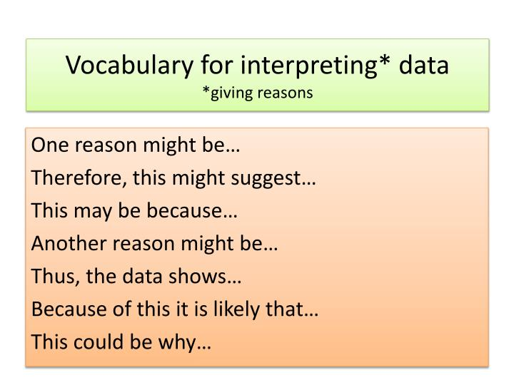 Vocabulary for interpreting* data