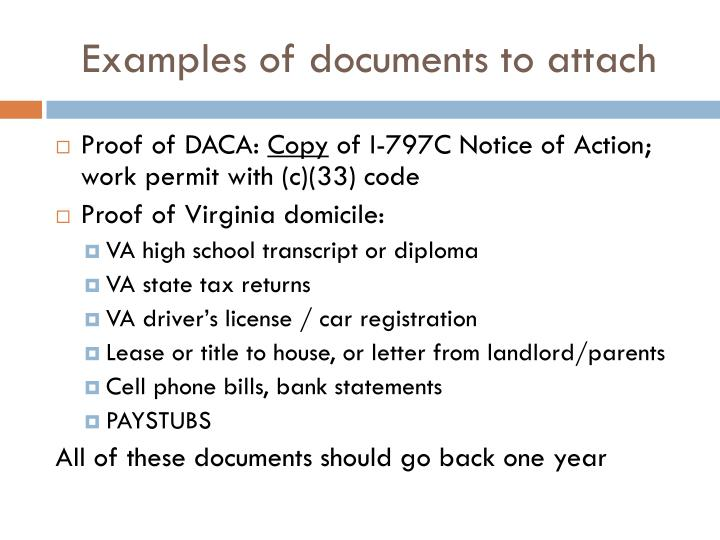 Examples of documents to attach