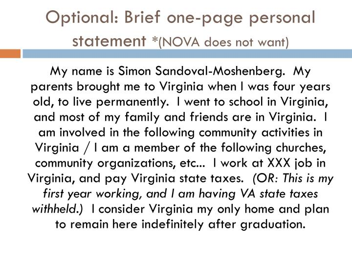 Optional: Brief one-page personal statement