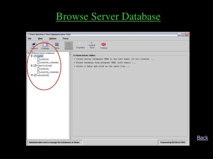 Browse Server Database