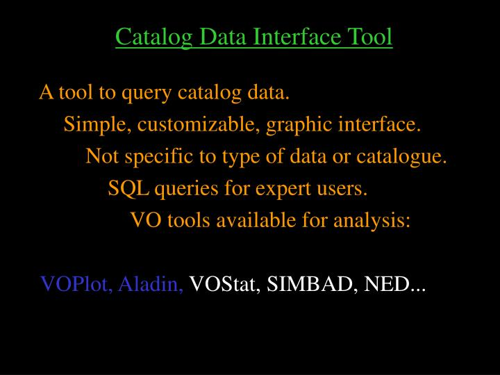 Catalog Data Interface Tool
