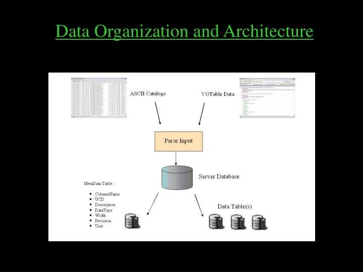 Data Organization and Architecture