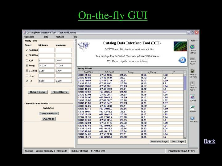 On-the-fly GUI