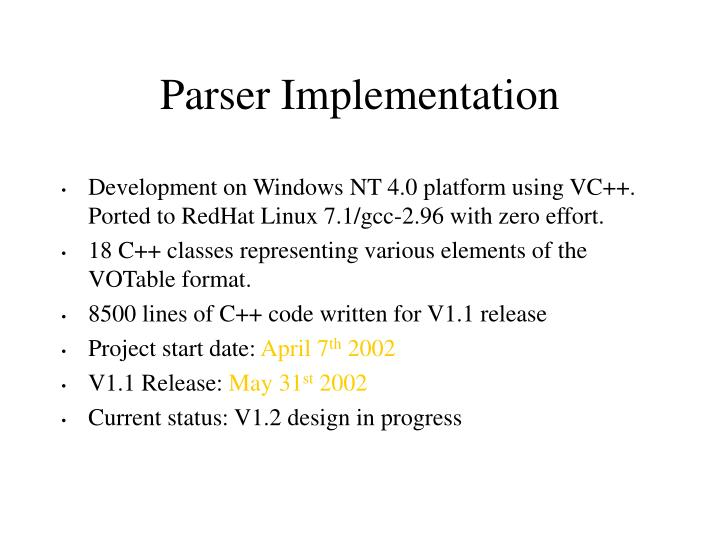 Parser Implementation