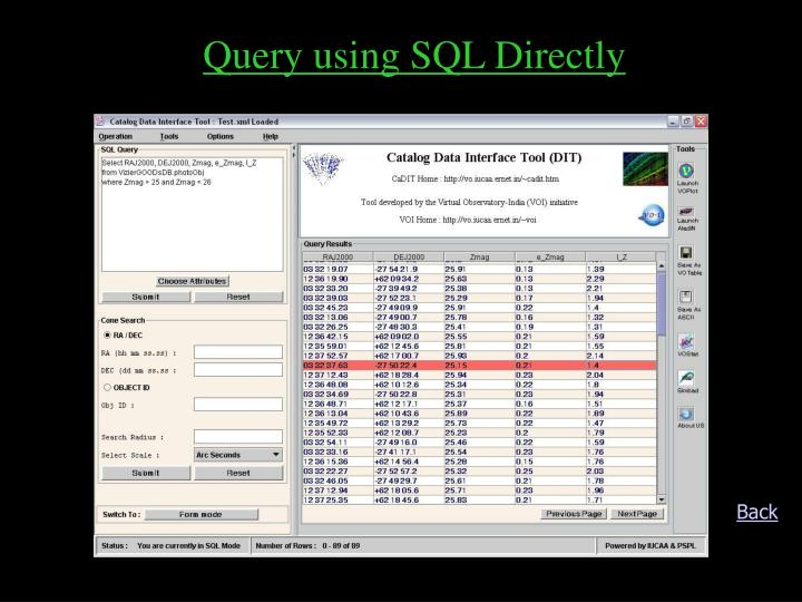 Query using SQL Directly