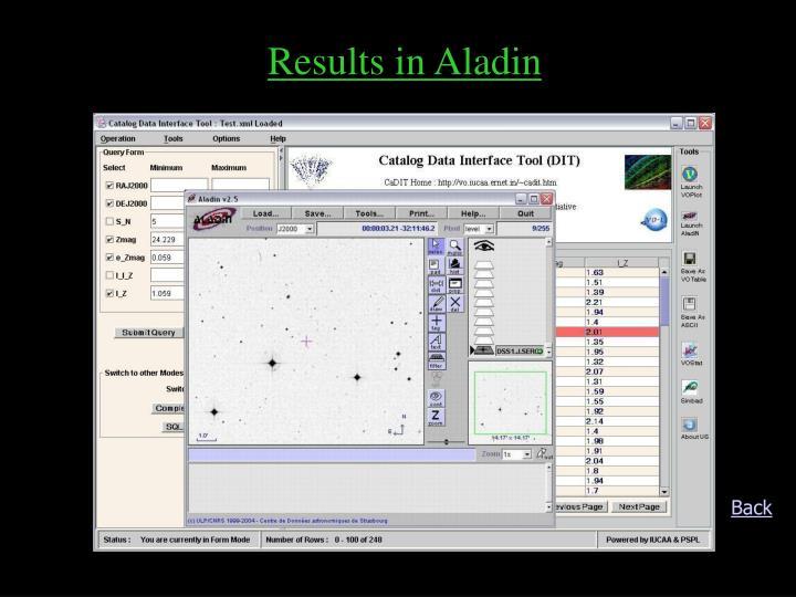 Results in Aladin