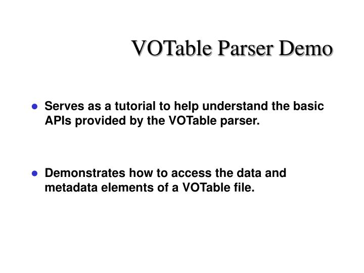 VOTable Parser Demo