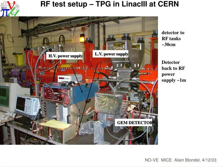 RF test setup – TPG in LinacIII at CERN