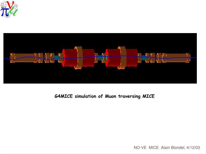 G4MICE simulation of Muon traversing MICE