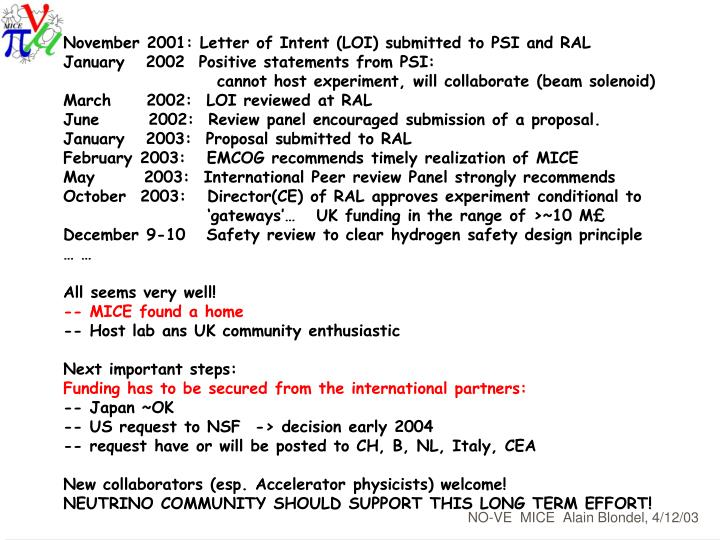 November 2001: Letter of Intent (LOI) submitted to PSI and RAL