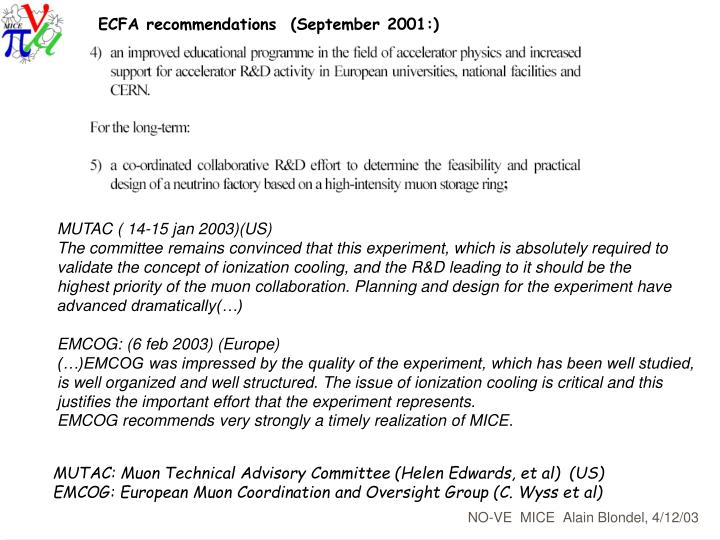 ECFA recommendations  (September 2001:)
