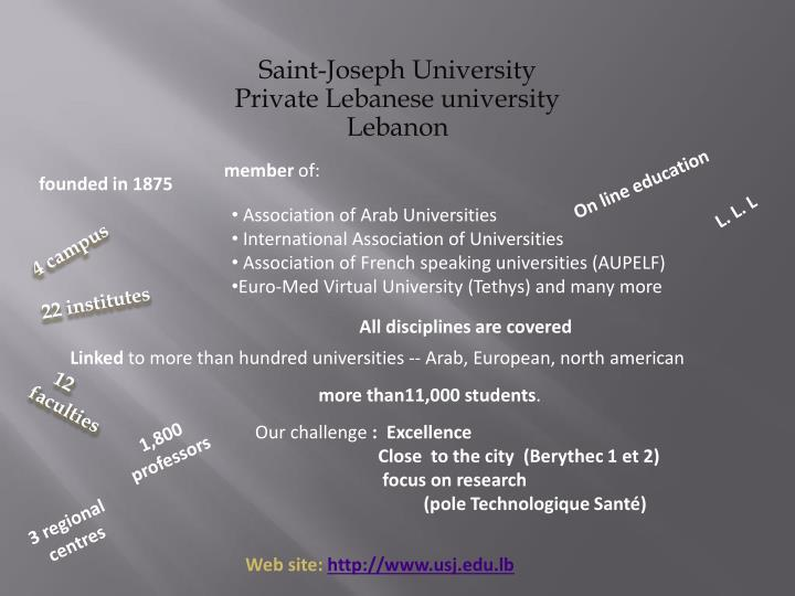 Saint joseph university private lebanese university lebanon