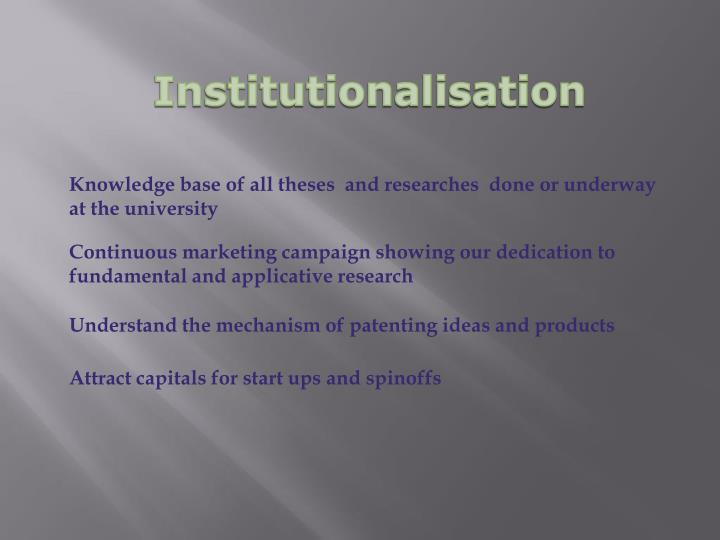 Institutionalisation