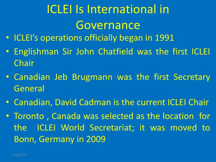 ICLEI Is International in Governance