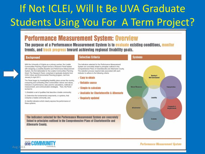 If Not ICLEI, Will It Be UVA Graduate Students Using You For  A Term Project?