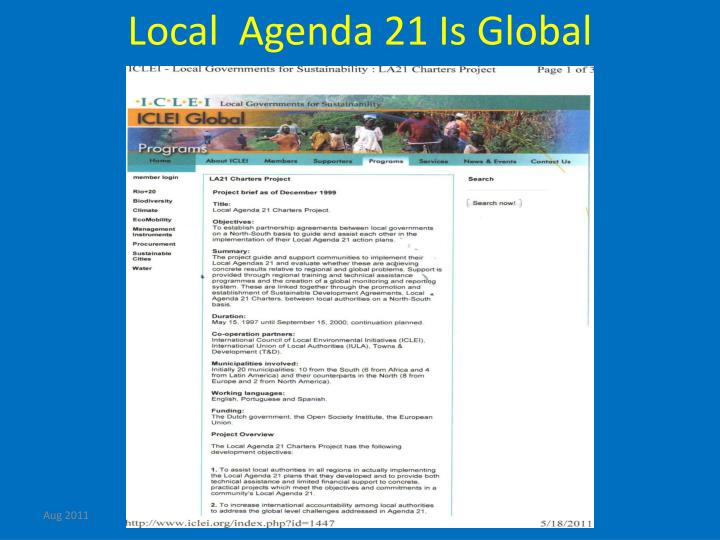 Local  Agenda 21 Is Global