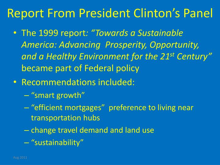 Report From President Clinton's Panel