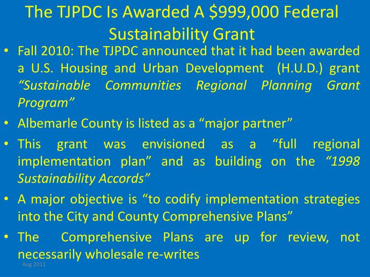 The TJPDC Is Awarded A $999,000 Federal  Sustainability Grant