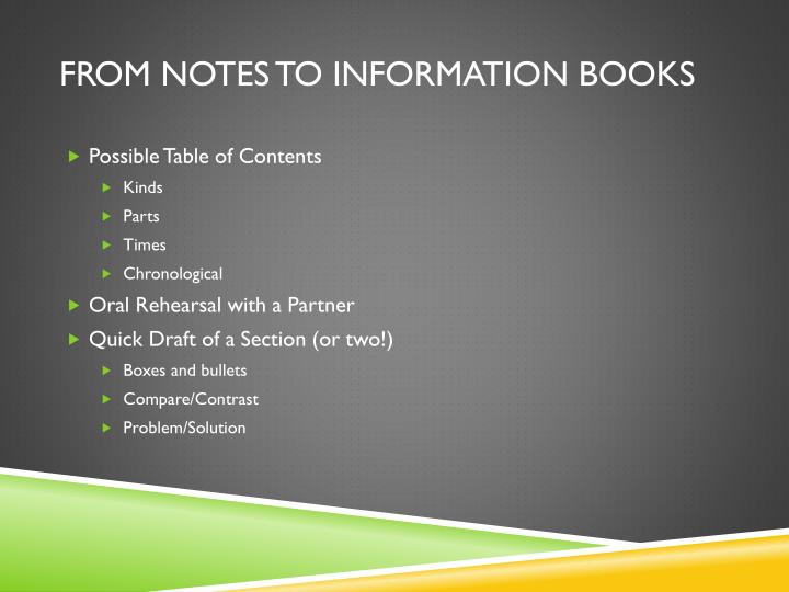 From Notes to Information Books