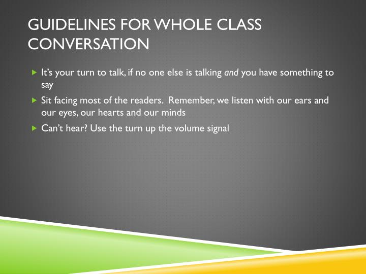 Guidelines for whole class conversation