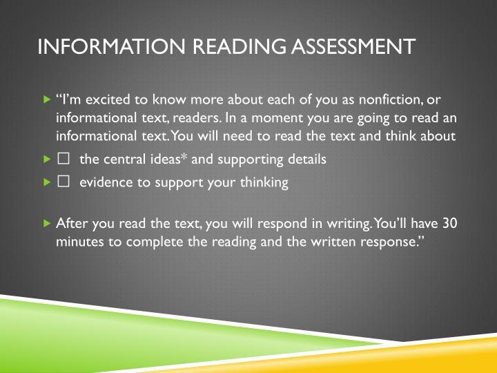 Information reading assessment