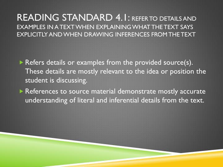 Reading Standard 4.1: