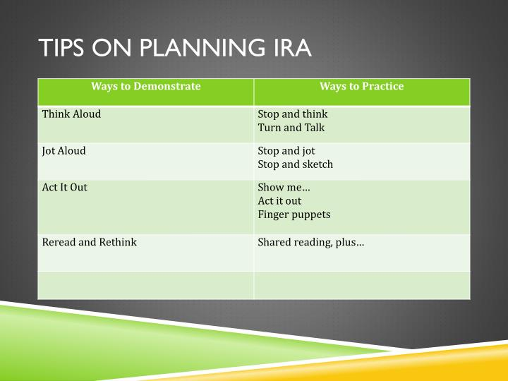 Tips on planning