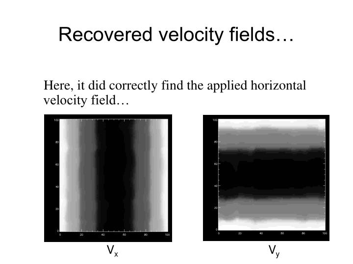 Recovered velocity fields…
