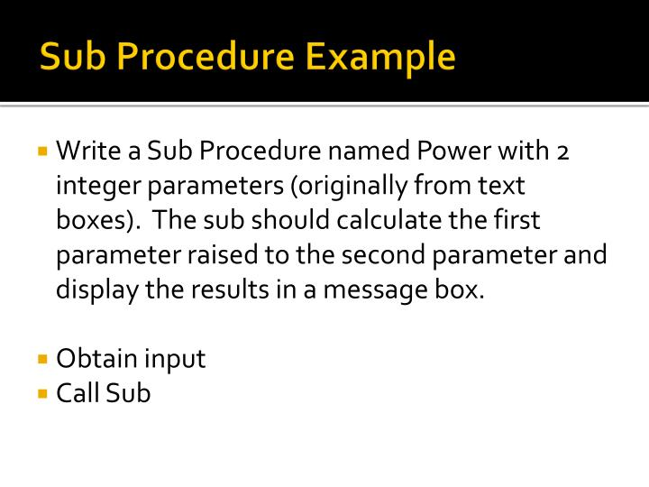 Sub Procedure Example